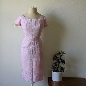 Vintage 50s pink wiggle dress eyelete detailing